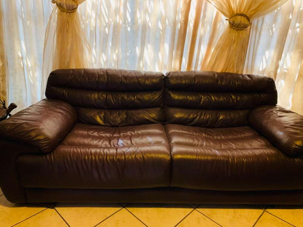 Fine 3 Piece Set Of Brown Genuine Leather Couches Gmtry Best Dining Table And Chair Ideas Images Gmtryco