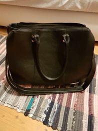 647fc5d36c219 Duża czarna torebka z długim paskiem