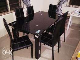 Trendy glass dinning table.