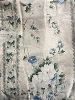 Blue and white floral curtains