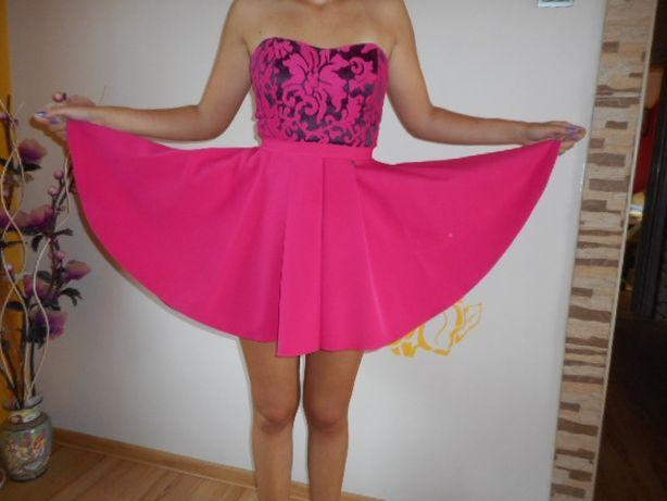 093312b6a3 kobieca sukienka AGNES M L wesele różowa fuksja rozkloszowana gorset  Zawiercie - image 1