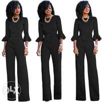 Formal Jumpsuit with Ruffle Sleeves- Large