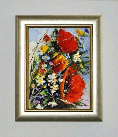Obraz Olejny 18x24 Cm Maki Bukiet Kwiaty Wroclaw