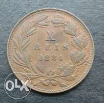 Great 1884 Portugal 10 Reis coin