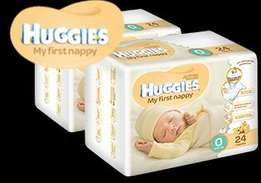 26x bags xBrand new Huggies nr 0 Disposable Nappies