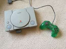 Playstation 1 (PS1) + remote, memory card and games