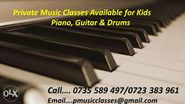 Private Home Lessons available for Piano, Guitar and Drums.