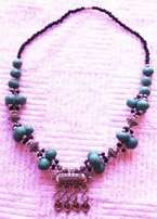 Moroccan style Turquoise Bead Necklace - 29 cm