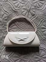 Vintage white leather handbag
