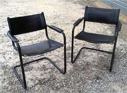 2 Black Leather Bauhaus Lounge Chairs