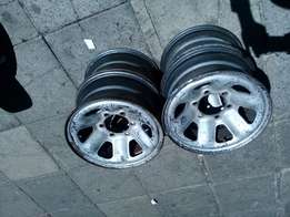 A set of stell rims for 4x4 15 inche
