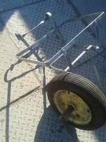 Hand made bicycle carrier and wheel for wheel barrow
