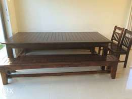 Indoor/outdoor table and benches