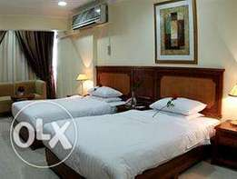 sharing in twin bed room in the hotel