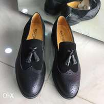 Bugatchi Tassel Leather Shoes in Black