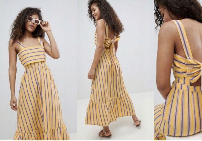 Nowa żółta sukienka maxi Sukienka maxi w paski Sukienka z