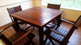Solid wood outdoor table and chairs