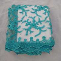 Turquoise Blue French Sample Lace - 5 Yards