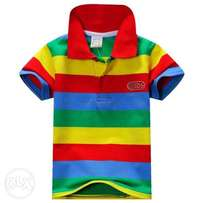 Boys Short Sleeve Polo Style Striped Shirt – Red Combo