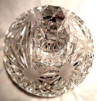 Truly Magnificent cut glass bowl with lid on a elegant legs.