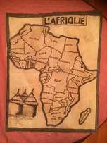 Unique rare vintage hand painted map of Africa on cloth