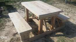 4 seater wooden picnic benches for sale