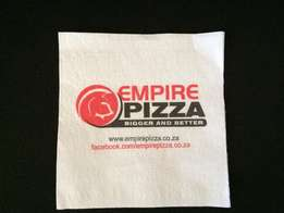 Printed serviettes/Napkins, Pie Packets, Paper cups