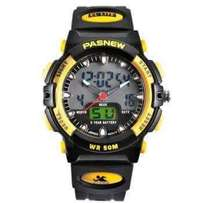 Pasnew black and yellow watch