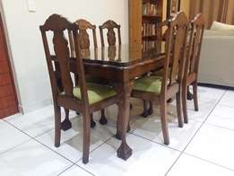 Antique Imbuia Wood Ball & Claw Six-Seater Dining Set with Glass Top
