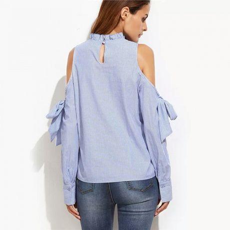 443547e2 Nowa bluzka koszula wycięte odkryte ramiona kokarda wiązana xs s ...