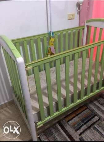 Baby bed with a new mattress