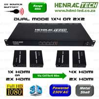 HDMI Splitter Extender, Dual Mode 1x4 or 2x2, 60m, IR Source Support