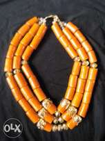 Orange and gold coral bead