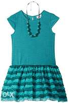 Youngland Girls' Striped Ruffle Dress With Beaded Necklace - 4-6Yrs