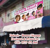 Salon out door display design and printing sticker or banner