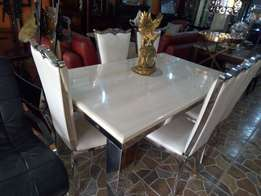Marble dining table with 6 solid chairs