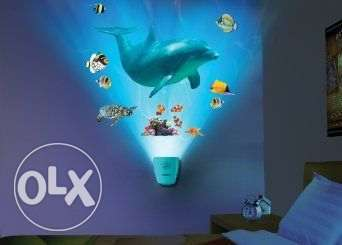 Night light and soun of dolphin with wall stickers toy