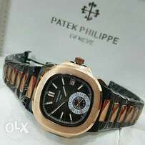 P P gentlemen two tone black and gold watch