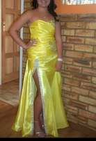 Yellow matric farewell dress for sale.