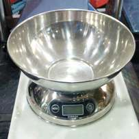 Digital stainless kitchen scale.