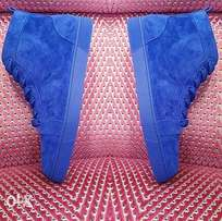 Blue Christian Louboutin Suede Hi Top New Sneakers