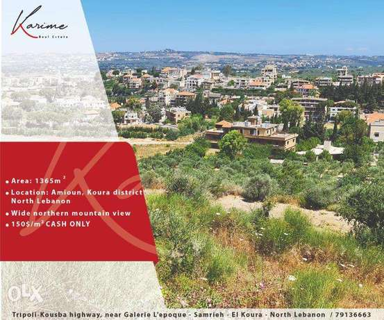1365 sqm Land For Sale in Amioun, Koura