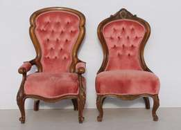 Victorian French Style Pink Buttonback Grandfather + Grandmother Chair