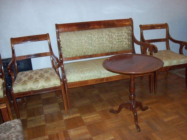 Biedermeier Stylowy Komplet Trzy Fotele Kanapa I Stolik