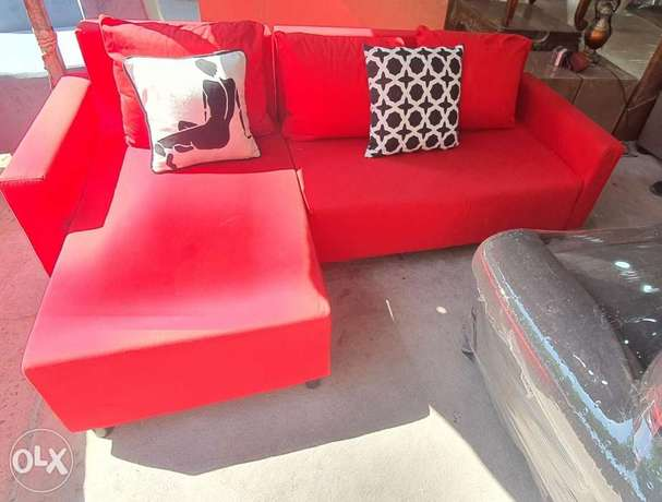 L shape sofa red color contact whatsapp please free delivery