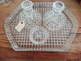 Vintage cut glass dressing table set (p1557/26)