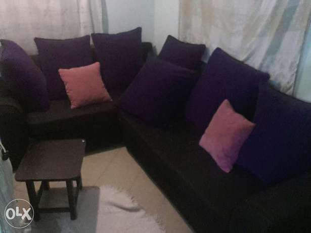 L seven Sitters Soffer on sale . Black in colour Purple BIG cushions . Mtwapa - image 5