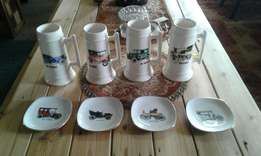 4 x beermugs + 4 x plates old cars from 1898 - 1924