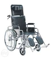 Reclining wheelchair with either commode or without