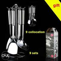 9 Stainless Steel Kitchen Cooker Set Cooking Utensils Spatula Spoon